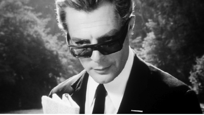 Marcello Mastroianni in Federico Fellini's 8 1/2 (1963).  In his stylistic portrayal of a man who is stranger unto himself, Sorrentino's films recall that of Fellini's masterpiece.